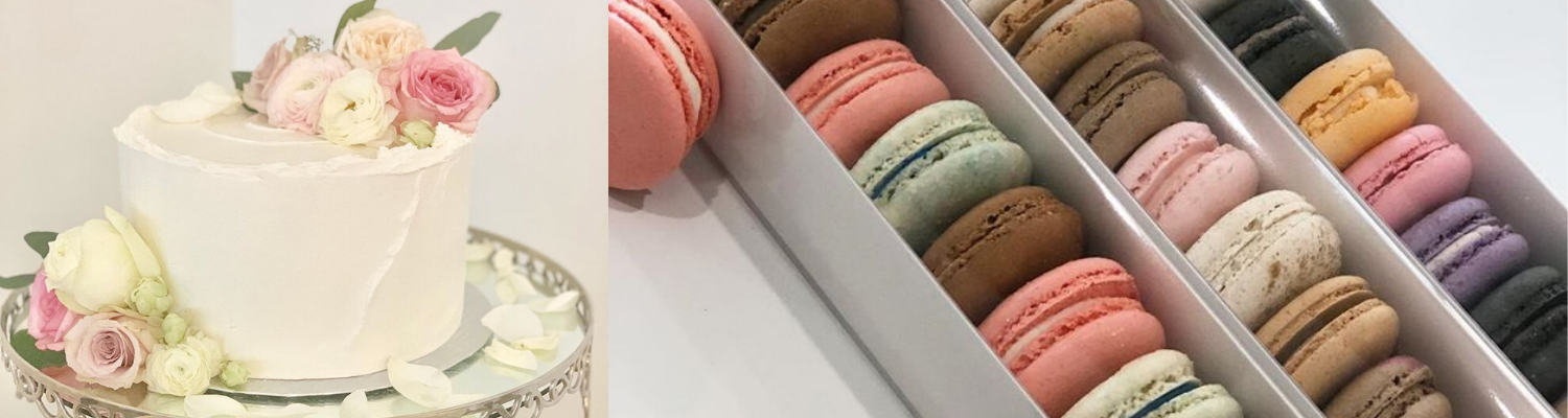 cake and macaroons